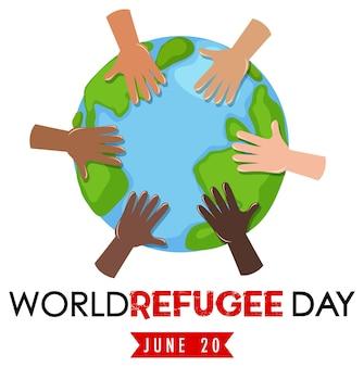 Banner do dia mundial do refugiado com mãos diferentes no globo isolado
