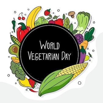 Banner do dia mundial vegetariano com conceito de comida saudável doodle rabisco