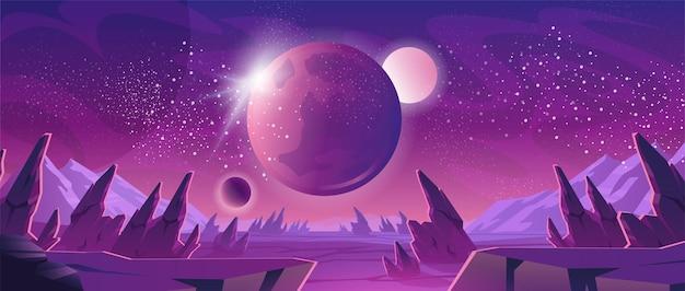 Banner do espaço com paisagem planeta roxa