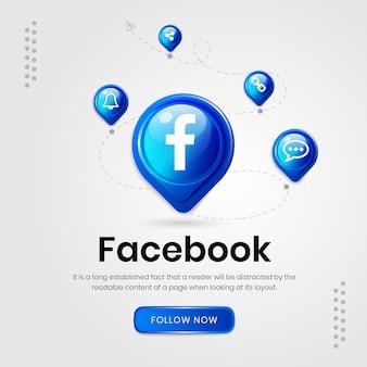 Banner do facebook com ícones de mídia social