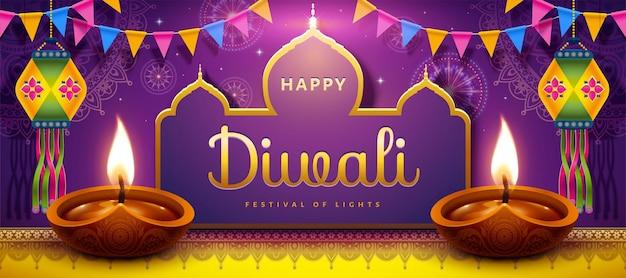 Banner do feliz festival de diwali com lâmpadas a óleo e lanternas indianas em fundo roxo