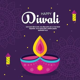 Banner do feriado do festival de diwali com velas e fogos de artifício em fundo roxo.