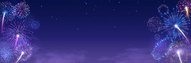 Banner do festival de fogos de artifício com explosões de fogos de artifício no céu estrelado