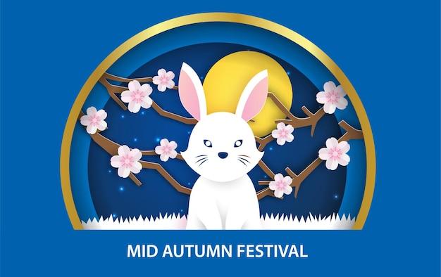 Banner do festival de meados do outono com coelhos fofos no estilo corte de papel