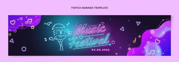Banner do festival de música colorida gradiente