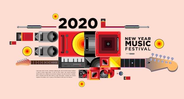 Banner do festival de música para 2020 festa e evento de ano novo