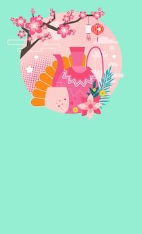 Banner do festival de outono mid com chá bebendo coisas