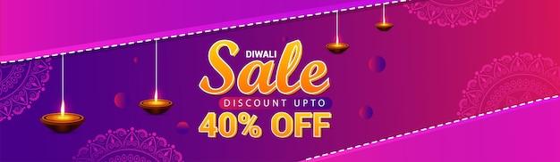 Banner do festival hindu diwali feliz e diya com design criativo