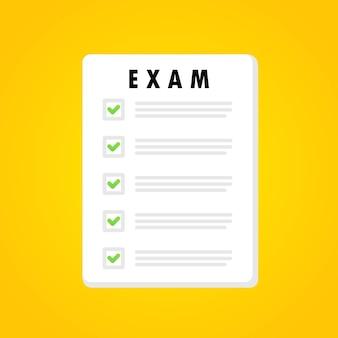 Banner do formulário de exame. teste online. educação. conceito de exame. vetor em fundo branco isolado. eps 10.