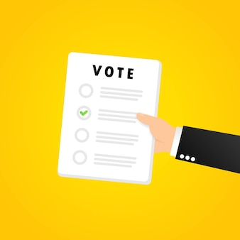 Banner do formulário de votação. boletim de votação. vetor em fundo isolado. eps 10.