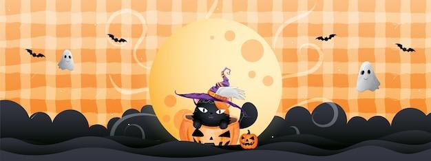 Banner do gato preto e abóbora no dia de halloween.