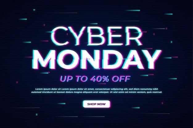 Banner do glitch cyber segunda-feira