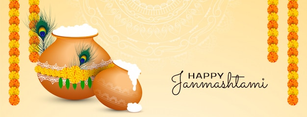 Banner do happy janmashtami no festival indiano