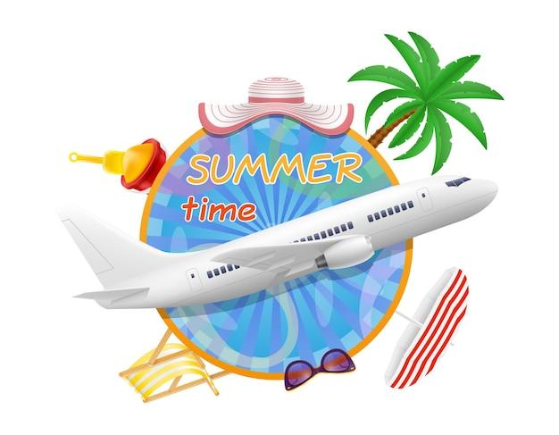 Banner do horário de verão com avião e itens para uma ilustração de férias na praia isolada no branco