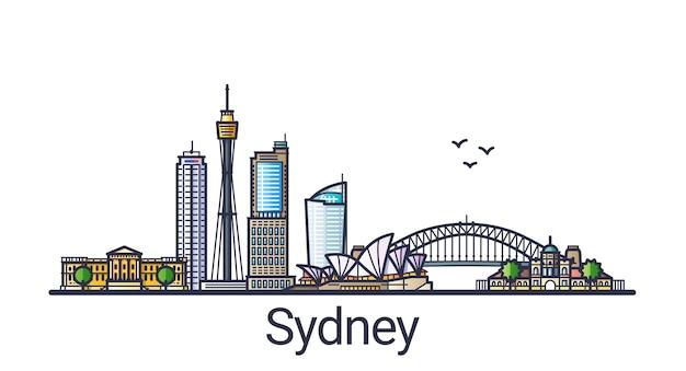 Banner do horizonte da cidade de sydney em estilo moderno de linha plana. arte de linha da cidade de sydney.