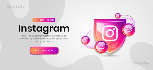 Banner do instagram com ícones de mídia social