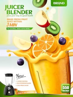 Banner do liquidificador espremedor de frutas com frutas frescas em fatias caindo em um recipiente na superfície da cozinha de bokeh, ilustração 3d