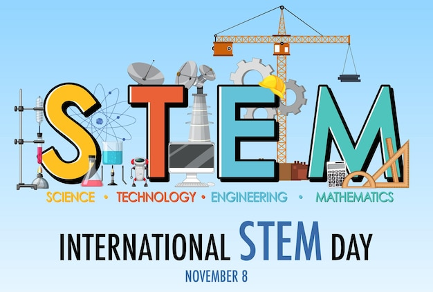Banner do logotipo do dia internacional stem em 8 de novembro