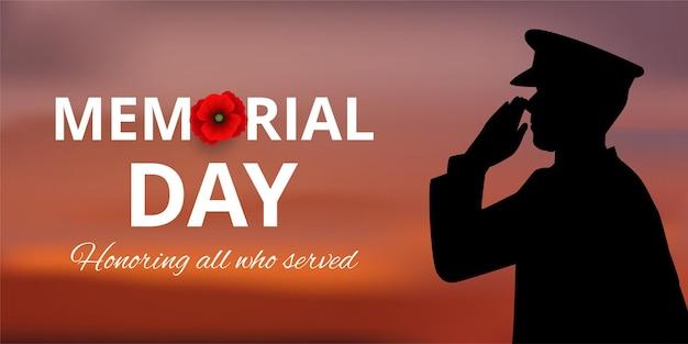 Banner do memorial day com a silhueta de um soldado homenageando e flor de papoula