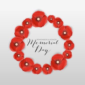 Banner do memorial day com flores de papoula de corte de papel vermelho. cartaz do dia da lembrança com o símbolo de papoilas pedaço para flyer, folheto, folheto. ilustração vetorial