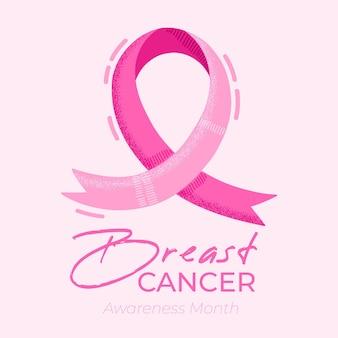 Banner do mês de conscientização do câncer de mama com fita rosa