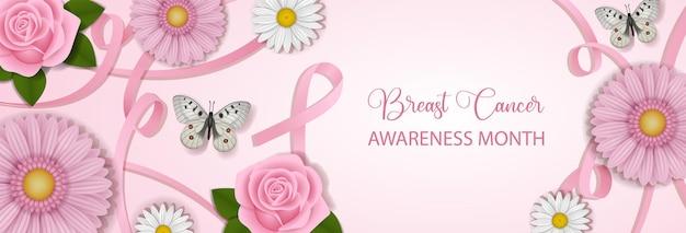 Banner do mês de conscientização do câncer de mama com fitas cor de rosa e flores