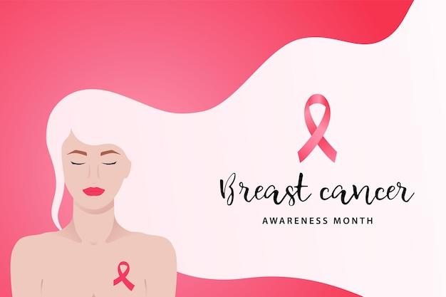 Banner do mês de conscientização do câncer de mama com jovem e fita rosa