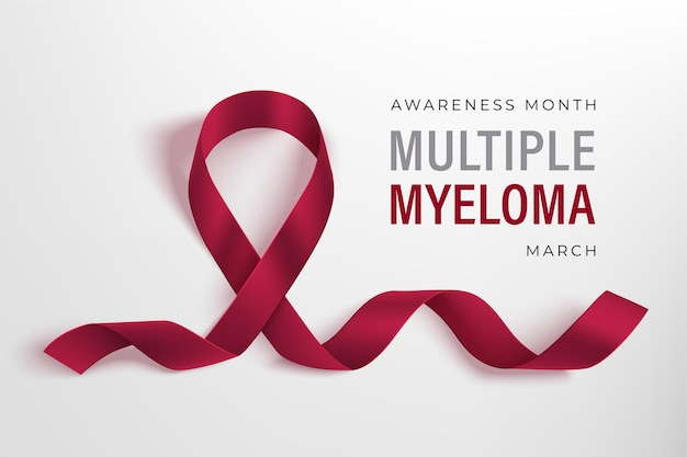Banner do mês de conscientização sobre mieloma múltiplo. fita cor de vinho fotorrealística em um fundo claro