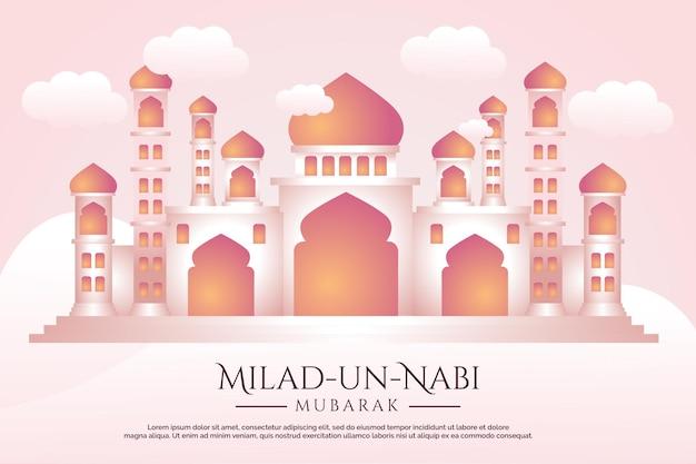 Banner do mês do nascimento do profeta com fundo de ilustração de mesquita