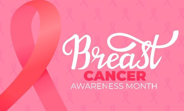 Banner do mês nacional de conscientização do câncer de mama com fita rosa e letras de mão desenhada.