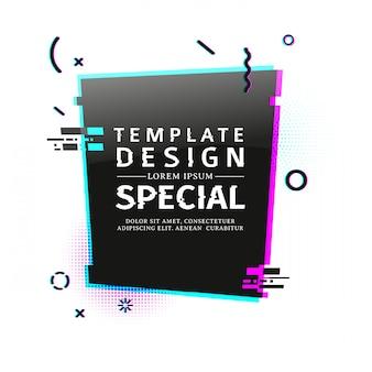 Banner do modelo com efeito de falha. cartaz de layout de retângulo preto vertical com partículas quebradas. banner com elemento gráfico de pixel e elemento geométrico de impacto.