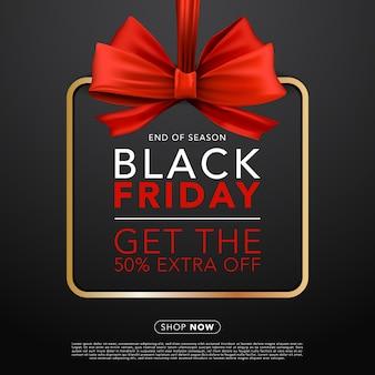 Banner do modelo de banner de venda de sexta-feira preta de fitas vermelhas brilhantes realistas.