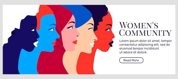 Banner do movimento feminista e comunitário de mulheres
