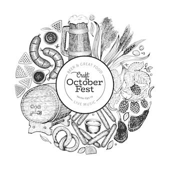 Banner do octoberfest. ilustrações desenhadas à mão do vetor.