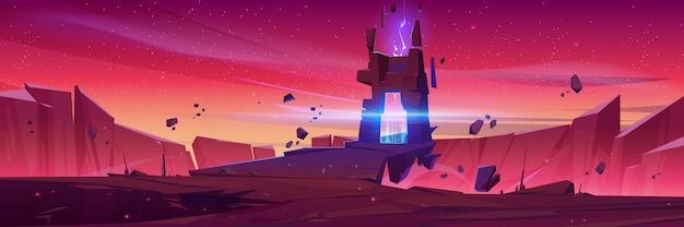 Banner do portal mágico no espaço de um planeta alienígena