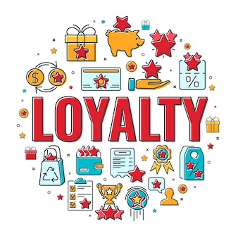 Banner do programa de fidelidade com tipografia e ícones lisos de linha colorida. o cliente recompensa com bônus. presente, cupons de desconto, crescimento de bônus, pontos de troca, cartão de fidelidade. isolado
