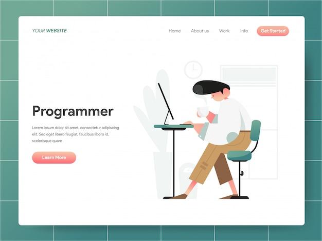 Banner do programador da página de destino concept
