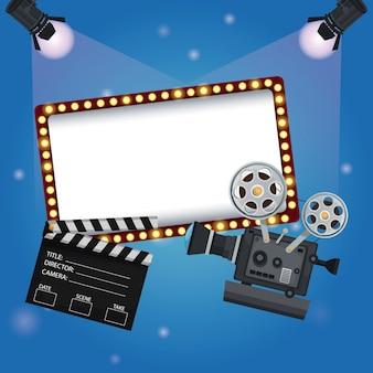 Banner do quadro de avisos com clapperboard e projetor de filme