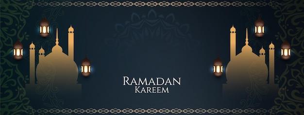 Banner do ramadan kareem com mesquita e lâmpadas
