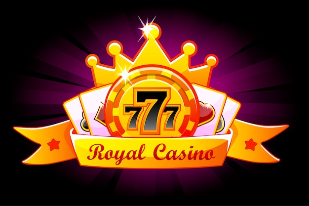 Banner do royal casino com chip, coroa e cartas