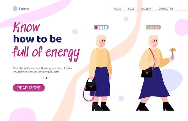 Banner do site com dicas sobre como estar cheio de ilustração vetorial de desenhos animados de energia