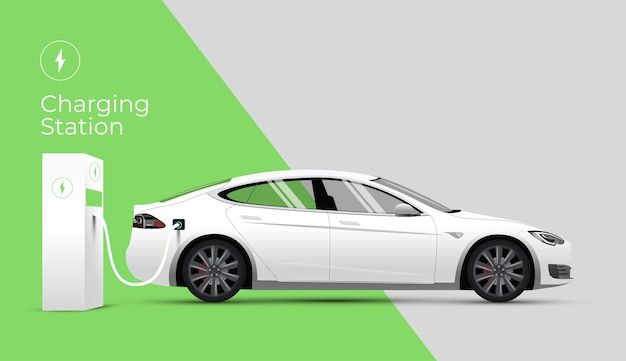 Banner do site da estação de carregamento de carro elétrico ou conceito de página de destino com vista lateral do carro elétrico e carregador em fundo verde e cinza.