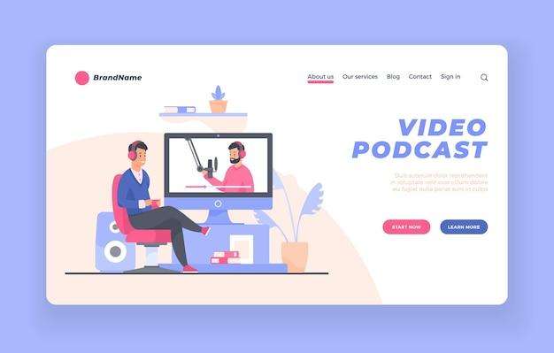 Banner do site da página de destino do visualizador de podcast de vídeo ou modelo de pôster
