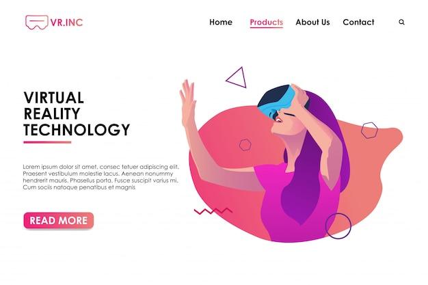Banner do site de realidade virtual ou página de destino