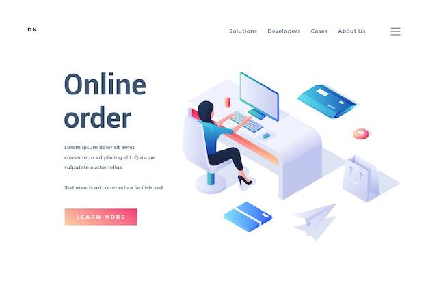 Banner do site para o serviço de pedidos on-line contemporâneo