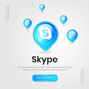 Banner do skype com ícones de mídia social
