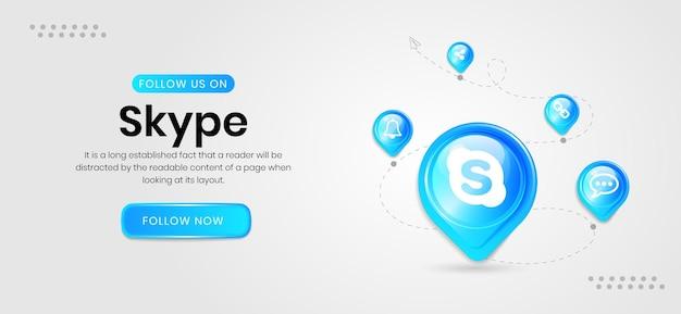 Banner do skype de ícones de mídia social