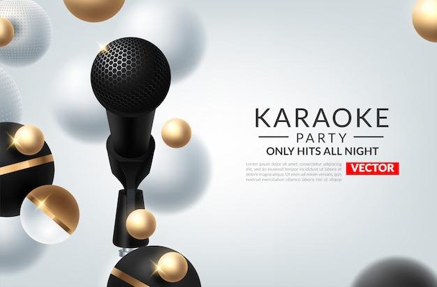 Banner do tema de festa de karaoke com microfones.