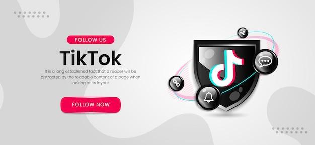 Banner do tiktok com ícones de mídia social