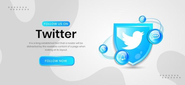 Banner do twitter com ícones de mídia social